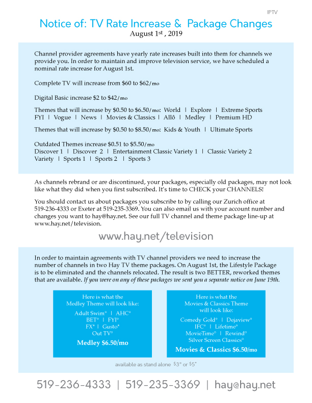 Channel Information - Hay Communications